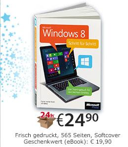 Windows 8 Schritt für Schritt. Gedruckte Ausgabe, 565 Seiten, Softcover. Für nur € 24,90 jetzt bei edv-buchversand.de bestellen. Bis 01.01.2013 inklusive GRATIS eBook!